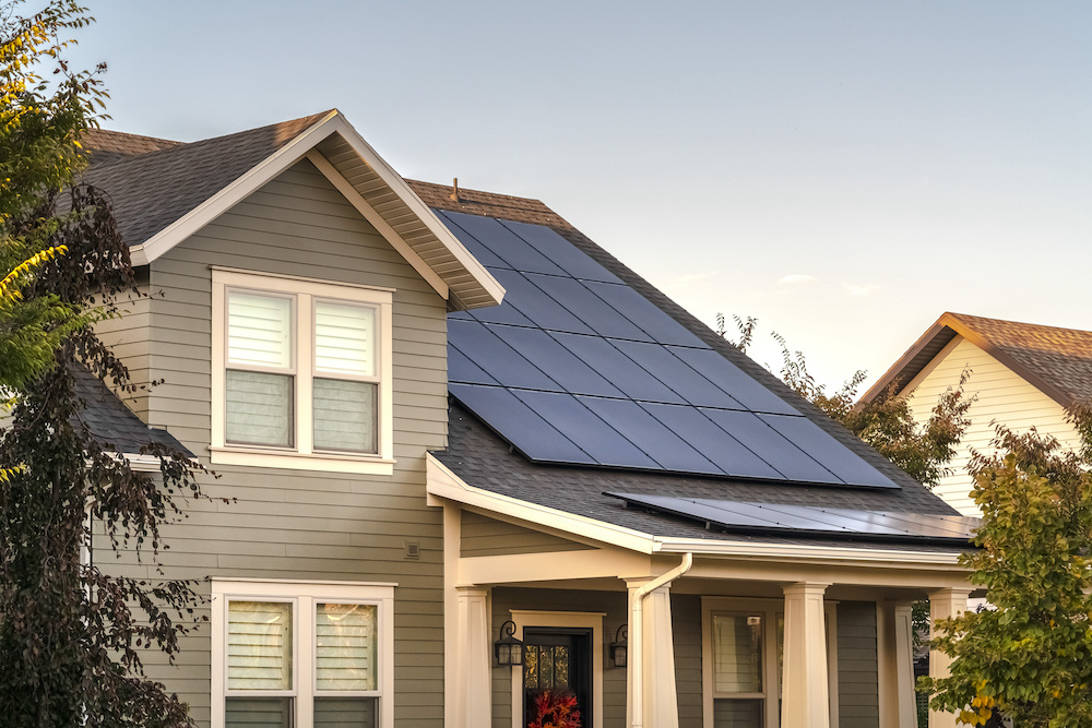 Solar photovoltaic panels on a house roof