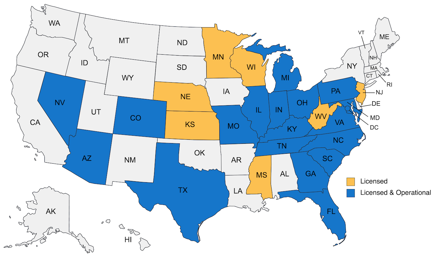 Map of United States where Blueprint Title is licensed and operating